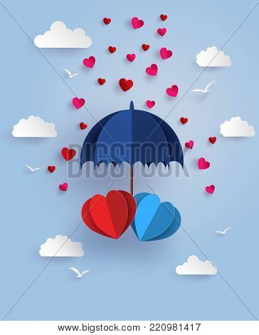 Concept of love and valentine day ,twin heart under blue umbrella floating on the sky with cloud, Paper art and craft style.