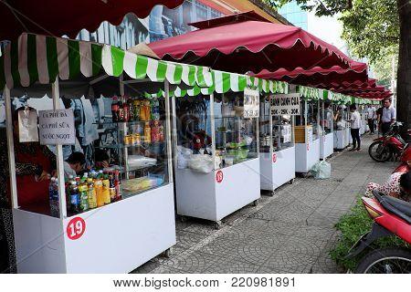 Vietnamese Street Food On Food Cart