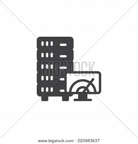 Database, server and speedometer on screen icon vector, filled flat sign, solid pictogram isolated on white. Server speed test symbol, logo illustration.