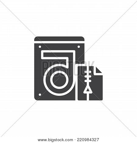 Store compressed folder and hdd icon vector, filled flat sign, solid pictogram isolated on white. Hard drive data recovery symbol, logo illustration.
