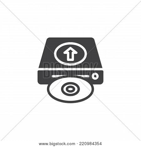Upload hard drive disk icon vector, filled flat sign, solid pictogram isolated on white. HDD upload symbol, logo illustration.
