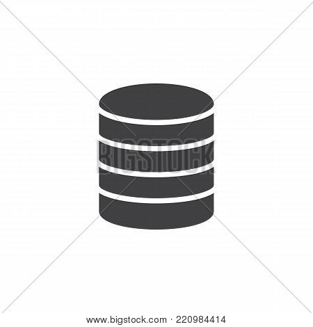 Virtual database storage icon vector, filled flat sign, solid pictogram isolated on white. Server storage symbol, logo illustration.