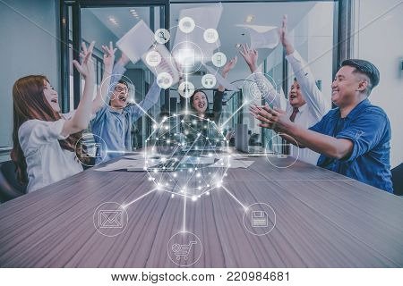 Group Of AsianBusiness people with casual suit working with happy action and celebrate with omni channel in the modern Office, people business group concept, 3D illustrration