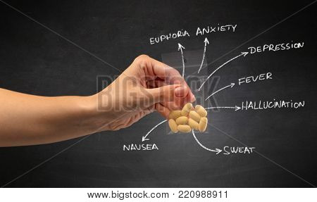 Hand with pills in plastic bag and blackboard wallpaper