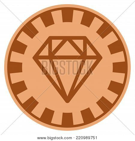 Diamond bronze casino chip pictograph. Vector style is a bronze flat gambling token item.