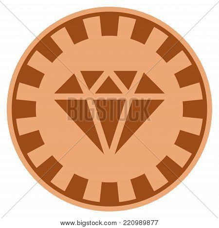 Gem bronze casino chip icon. Vector style is a bronze flat gamble token item.
