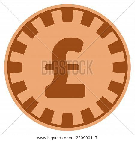 Pound Sterling copper casino chip pictograph. Vector style is a bronze flat gamble token item.