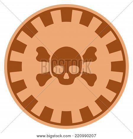 Skull Crossbones bronze casino chip pictogram. Vector style is a copper flat gambling token symbol.