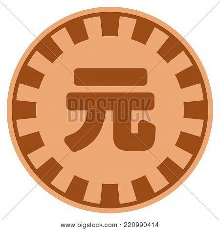 Yuan Renminbi bronze casino chip pictograph. Vector style is a bronze flat gambling token item.