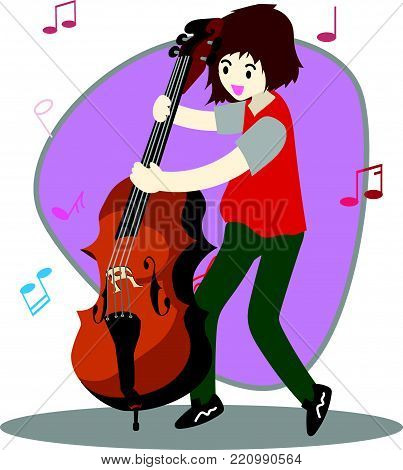 Young boy playing double bass Happy Love music Background character design illustration vector in cartoon style