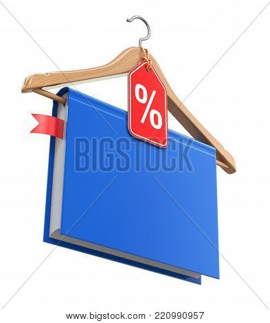 Books on sale concept with the book and wooden hanger - 3D illustration