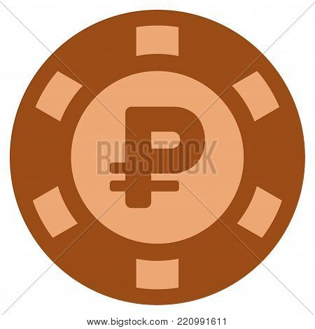 Rouble bronze casino chip icon. Vector style is a bronze flat gamble token item.