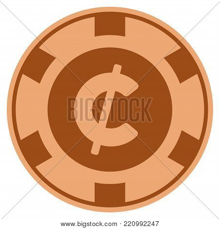 Cent bronze casino chip pictograph. Vector style is a copper flat gamble token item.