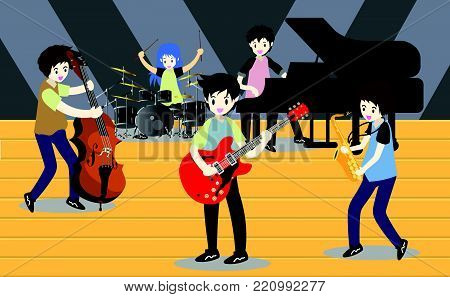 Musicians Jazz band ,Play guitar,bassist ,Piano,Saxophone .Jazz band.Vector illustration isolated on background in cartoon style