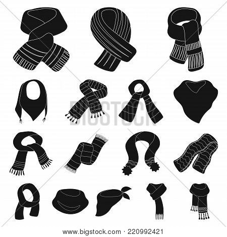 Scarf and Shawl black icons in set collection for design.Clothes and Accessory vector symbol stock illustration.