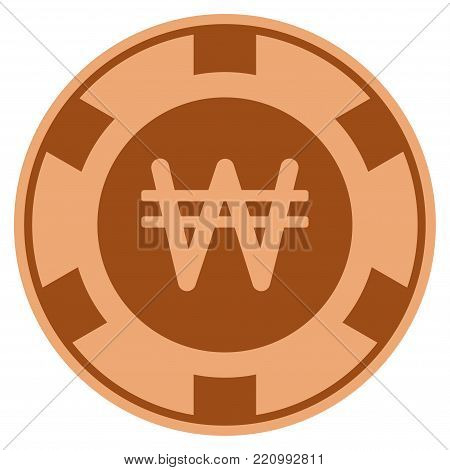 Korean Won bronze casino chip pictogram. Vector style is a copper flat gamble token symbol.