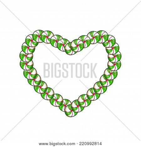 Green and white heart candy frame with space for text for Valentine's Day or wedding. Vector illustration, border, love tempate or clip art for design isoated on white background.