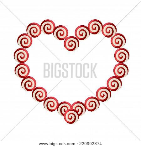 Red and white heart shaped frame made of lolipops with space for text for Valentine's Day or wedding design. Vector illustration, border, love tempate, isoated on white background.