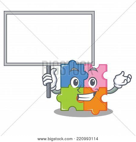 Bring board puzzle character cartoon style vector illustration