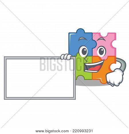 With board puzzle character cartoon style vector illustration
