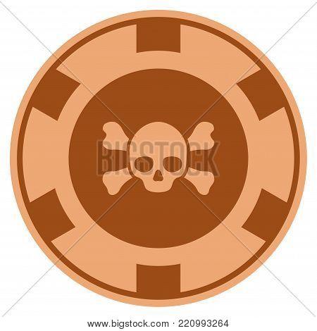 Skull Crossbones bronze casino chip pictograph. Vector style is a bronze flat gamble token item.