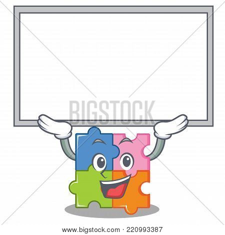 Up board puzzle character cartoon style vector illustration