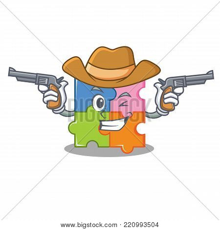 Cowboy puzzle character cartoon style vector illustration