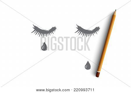 Sadness concept. Hand drawn closed eyes with a teardrop on face. Tear runs down on cheek isolated vector illustration.
