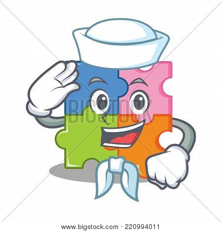 Sailor puzzle character cartoon style vector illustration
