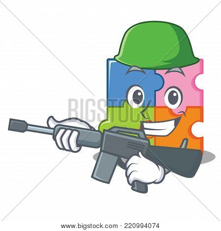 Army puzzle character cartoon style vector illustration