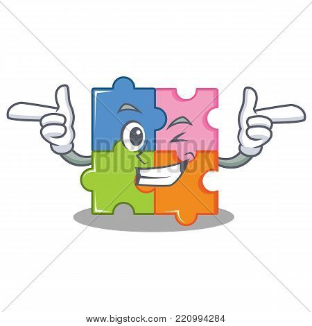 Wink puzzle character cartoon style vector illustration