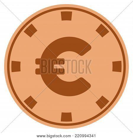 Euro bronze casino chip pictogram. Vector style is a bronze flat gambling token symbol.