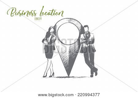 Business location concept. Hand drawn man and woman near location point. Marker of place isolated vector illustration.