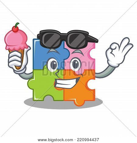 With ice cream puzzle character cartoon style vector illustration