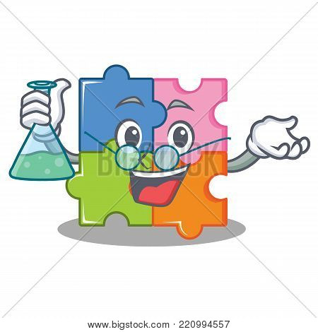 Professor puzzle character cartoon style vector illustration