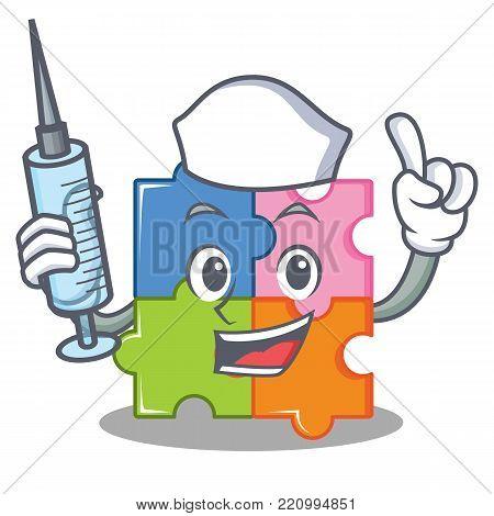 Nurse puzzle character cartoon style vector illustration