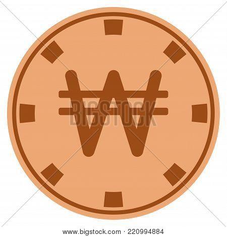 Korean Won copper casino chip pictogram. Vector style is a copper flat gamble token symbol.