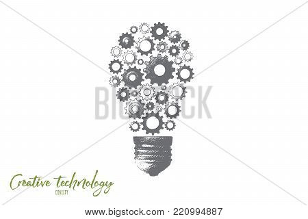 Creative technology concept. Hand drawn electric bulb with gear wheels as symbol of creative idea. Production of ideas isolated vector illustration.