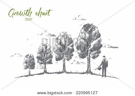 Growth chart concept. Hand drawn trees like symbol of growing chart. Graph of economic changes isolated vector illustration.
