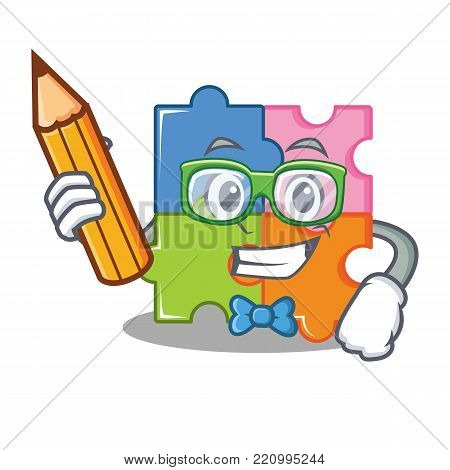 Student puzzle character cartoon style vector illustration
