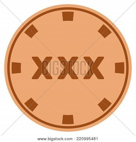 XXX bronze casino chip pictograph. Vector style is a bronze flat gamble token item.