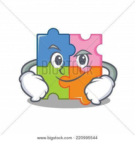 Smirking puzzle character cartoon style vector illustration