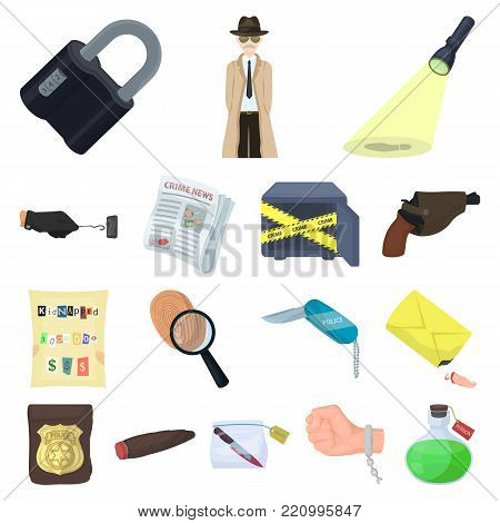 Detective agency cartoon icons in set collection for design. Crime and investigation vector symbol stock  illustration.