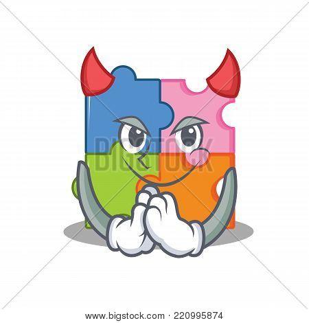 Devil puzzle mascot cartoon style vector illustration