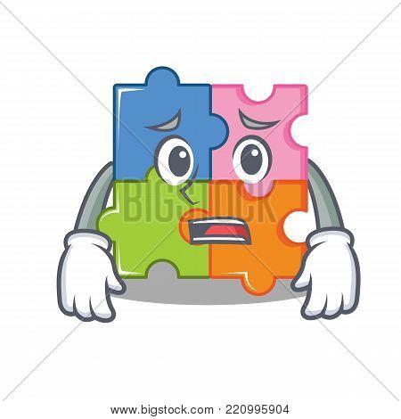 Afraid puzzle mascot cartoon style vector illustration