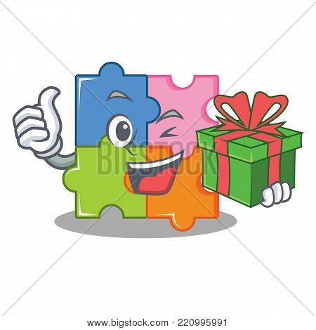 With gift puzzle mascot cartoon style vector illustration