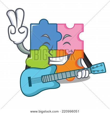 With guitar puzzle mascot cartoon style vector illustration