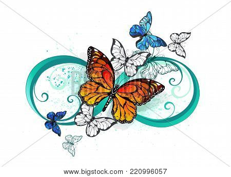Symbol of infinity with realistic butterflies by monarchs and morphs on a white background. Morpho. Monarch butterfly. Design with butterflies. Tattoo Style