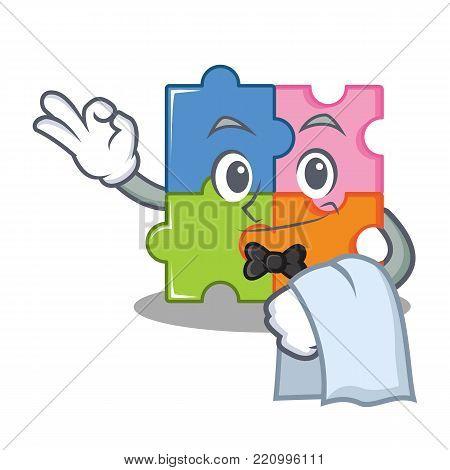 Waiter puzzle mascot cartoon style vector illustration