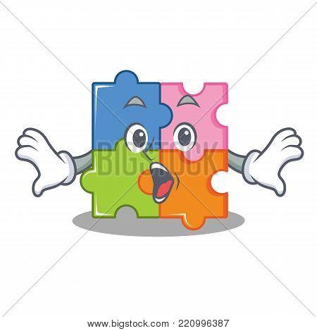 Surprised puzzle mascot cartoon style vector illustration